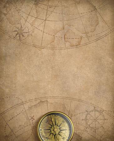 brujula: brújula de edad y náutica mapa ilustración de fondo