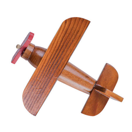 trompo de madera: modelo de avión de madera vista superior aislado con trazado de recorte incluidos