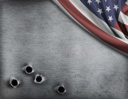 a battleship: metal with bullet holes and USA flag Stock Photo