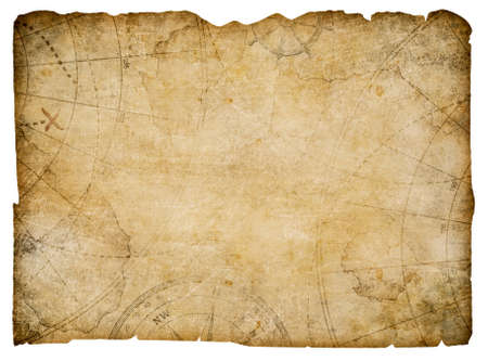 treasure: nautical map with torn edges isolated Stock Photo