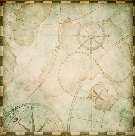 aged square nautical pirates map
