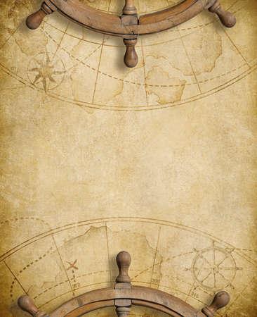 航海マップの背景の上のステアリング ホイール