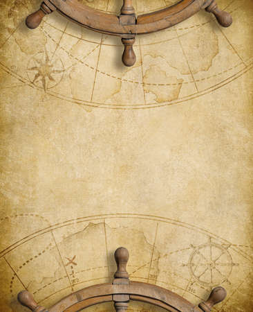 steering wheels over nautical map background