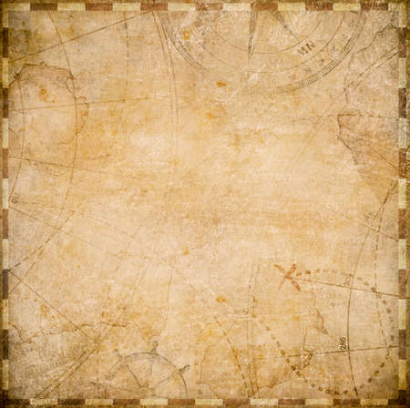 adventures: aged square nautical pirates map stylization