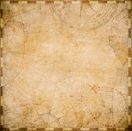 Alter Quadrat nautischen Piraten Karte Stilisierung