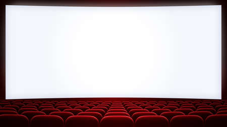 cinema theatre screen with red seats backgound (aspect ratio 16:9)