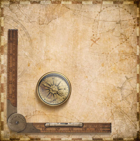 nautical map: aged compass, ruler and nautical map illustration background