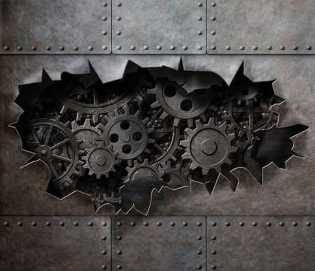 gears and cogs: old metal armour background with rusty gears and cogs