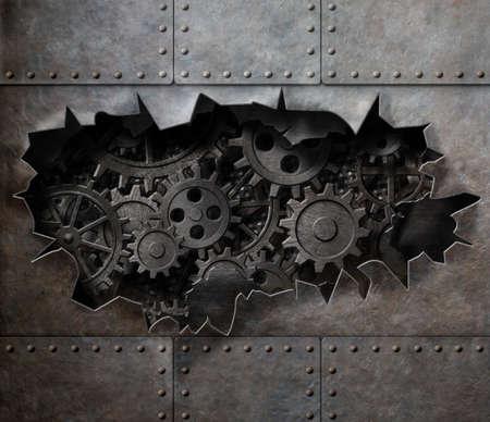 MAQUINA DE VAPOR: Viejo fondo de la armadura de metal con engranajes oxidados y ruedas dentadas Foto de archivo