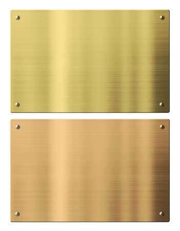 placche di bronzo e metallo oro isolati con tracciati di ritaglio