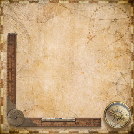 aged compass, wood ruler and nautical map illustration background