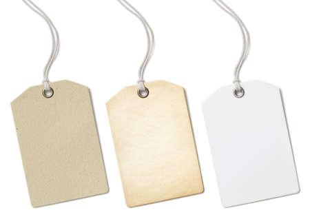 Blanco papier prijskaartjes of etiketten die geïsoleerd op wit Stockfoto