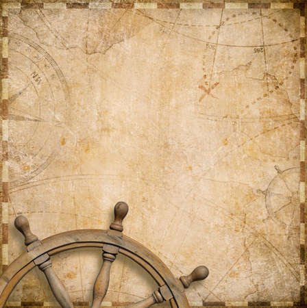 geography background: vintage nautical map with steering wheel