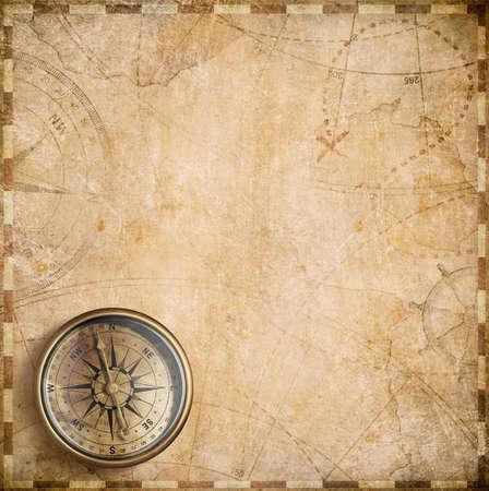 oude kompas en nautische kaart illustratie achtergrond Stockfoto