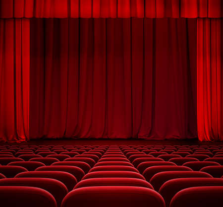 red curtain on theater stage with red velvet seats in auditorium