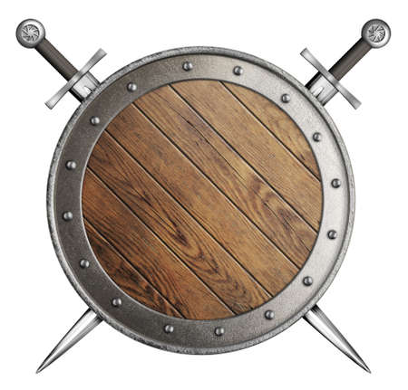 vikingo: escudo medieval de madera con dos espadas aislados en blanco