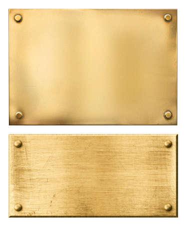 placa bacteriana: planchas de bronce o metal de oro fijadas aisladas en blanco