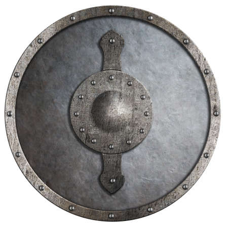 medievales: escudo redondo de metal medieval aislado en blanco