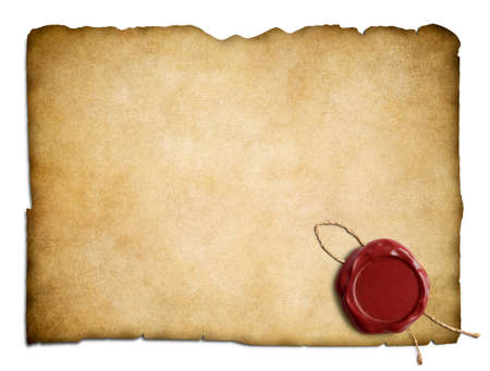 Old parchment letter with red wax seal isolated