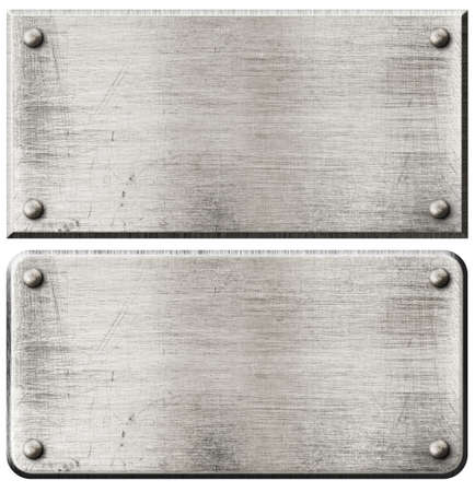 nameboard: grunge metal plates set with rivets isolated on white Stock Photo