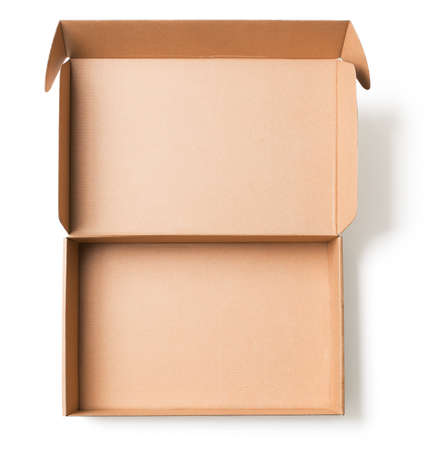 Open cardboard box top view isolated on white