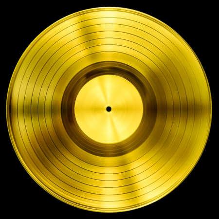 Disco de Oro premio disco de vinilo aislado con trazado de recorte Foto de archivo - 47198015