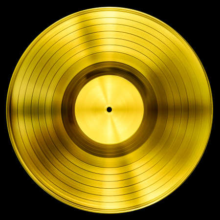 gold record vinyl disc award isolated with clipping path