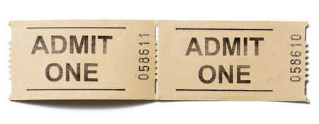 admit: Two simple cardboard admit one tickets isolated Stock Photo