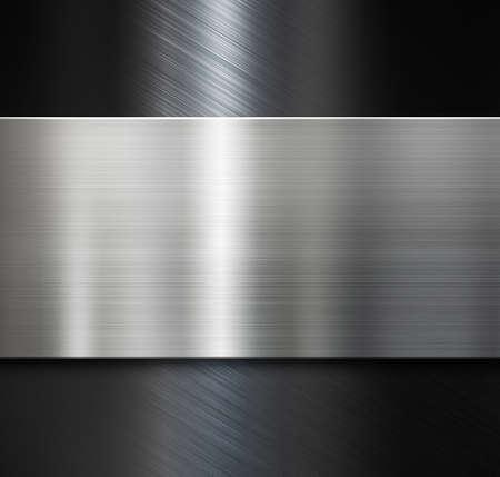 metal plate over black brushed metallic surface Stockfoto