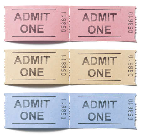 admit one: Two simple cardboard admit one tickets set isolated
