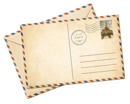 Blanco par avion briefkaartsjabloon en envelop geïsoleerd op wit Stockfoto
