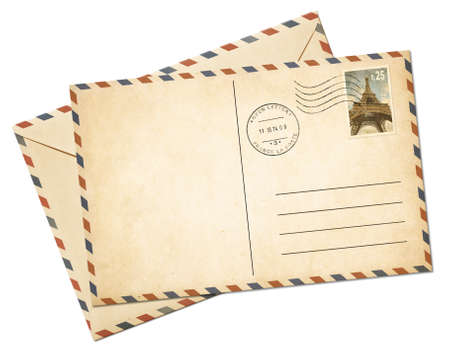 vintage postcard: Blank par avion postcard template and envelope isolated on white