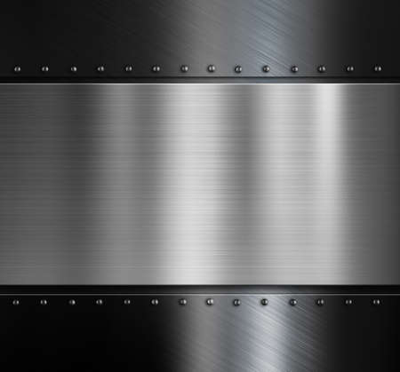 steel texture: metal plate over black brushed metallic surface with rivets