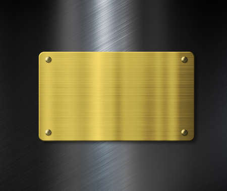 nameboard: gold metal plate or nameboard over black metallic background