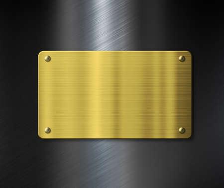 placa bacteriana: placa de metal de oro o muestra nuca sobre fondo negro metálico