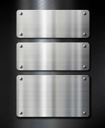 brushed steel: three stainless steel metal plates on black brushed background