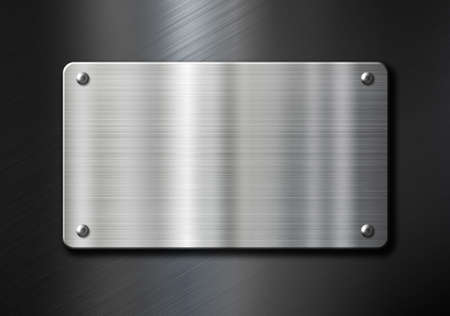 stainless steel sheet: stainless steel metal plate over black brushed background Stock Photo