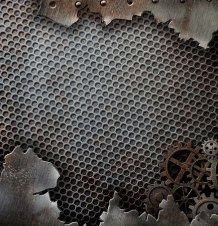 metal grunge: cracked grunge metal background template with gears and cogs