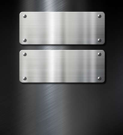 brushed steel: two steel metal plates on black brushed background Stock Photo
