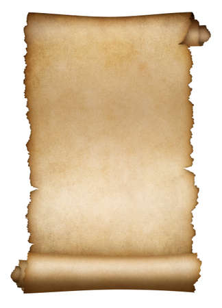 Old scroll parchment or paper isolated on white