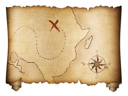 Pirates 'oude schatkaart roll geïsoleerd op wit Stockfoto - 48246052