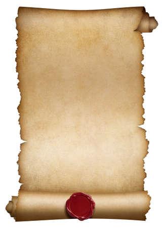오래 된 종이 롤 또는 왁 스 물개와 원고 스톡 콘텐츠