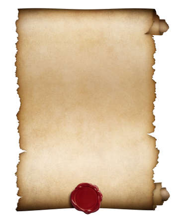 Old paper roll or manuscript with wax seal isolated Stockfoto