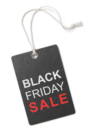 blank tag: black friday sale label or tag isolated on white Stock Photo