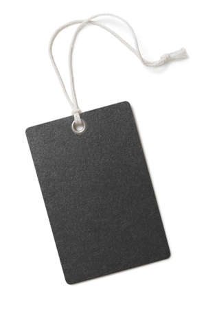 Blank black paper price or gift tag isolated on white