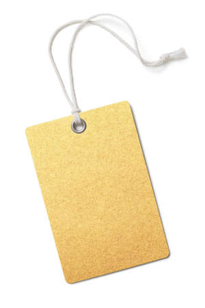 Blank golden paper price or gift tag isolated on white Stock Photo