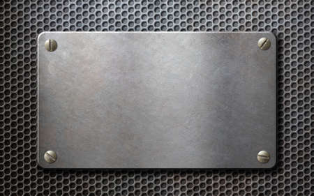 ironworks: metal plate over grid metallic background