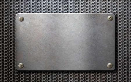 malla metalica: placa de metal sobre fondo metálico de rejilla
