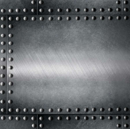 rivet: metal armour with rivets background Stock Photo