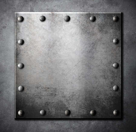 rivets: steel metal square plate with rivets background